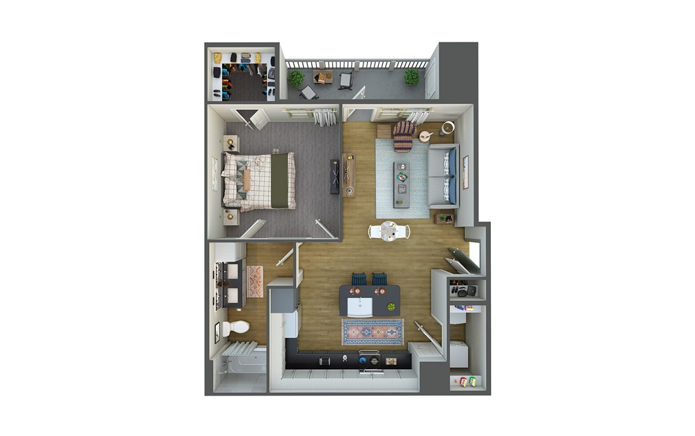 El Mar 1 Bed 1 Bath Floorplan
