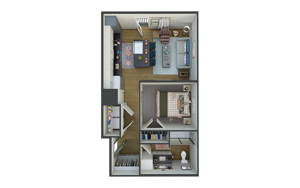 El Sol 1 Bed 1 Bath Floorplan