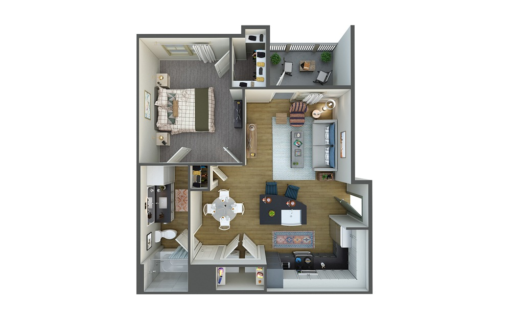 La Brisa 1 Bed 1 Bath Floorplan