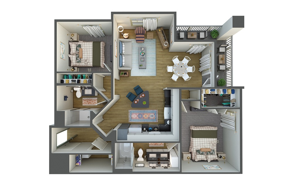 La Isla 2 Bed 2 Bath Floorplan