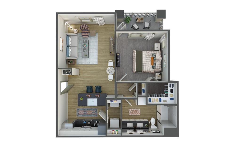 La Marea 1 Bed 1 Bath Floorplan