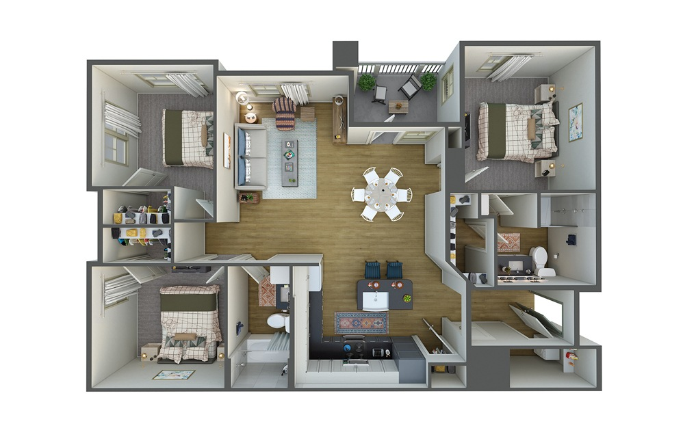 La Playa 3 Bed 2 Bath Floorplan