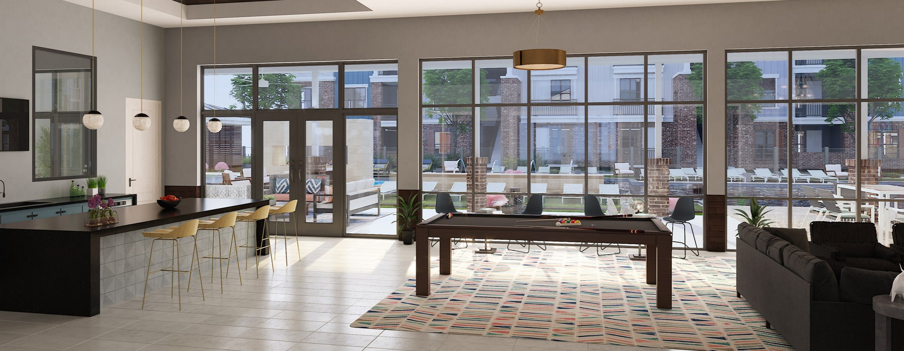 Rendering of Clubroom with High Ceilings and Ample Lighting